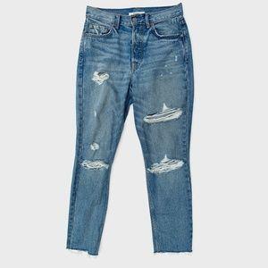 GRLFRND Karolina High Rise Fray Skinny Jeans 26